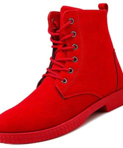 Men's Combat Boots PU Fall Boots Black / Red