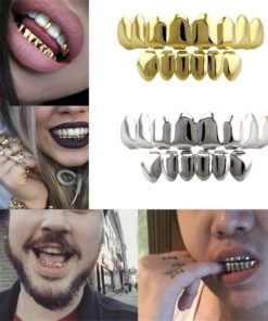 New Hip Hop Teeth Grillz Set Top Bottom Mouth Teeth Grills Fashion Removable Dental Grills Jewelry